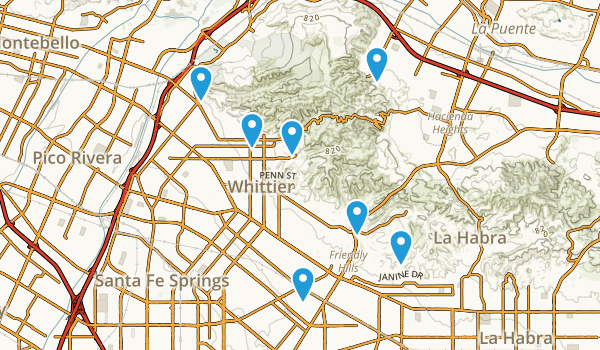 Whittier, California Nature Trips Map