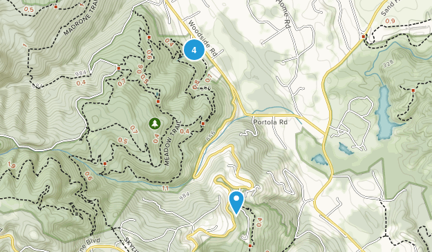 Woodside, California Hiking Map