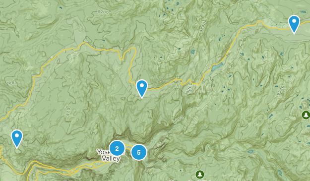 Yosemite Valley, California Waterfall Map