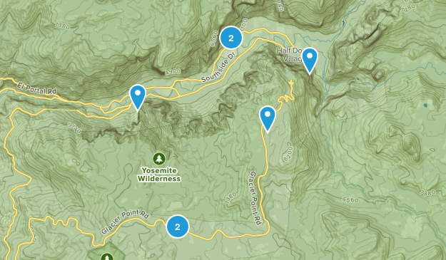 Yosemite Village, California Walking Map