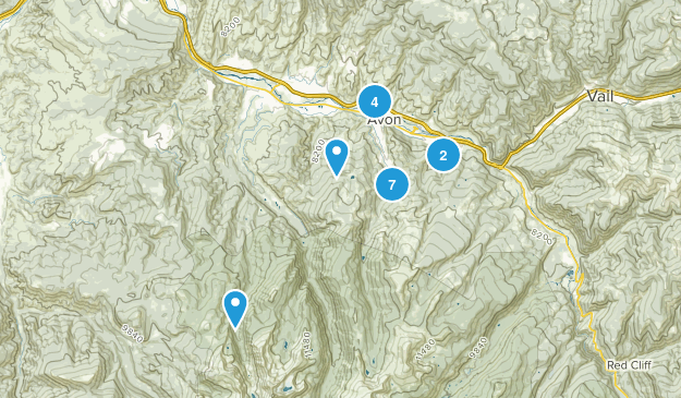 Avon, Colorado Hiking Map