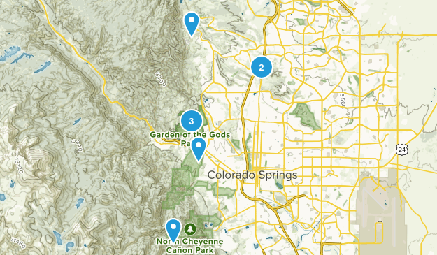 Colorado Springs, Colorado Rock Climbing Map