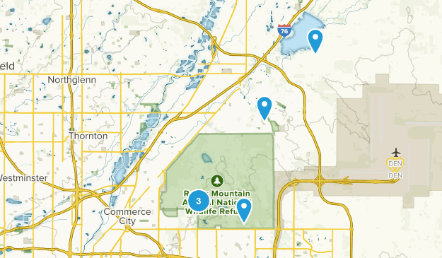 Commerce City, Colorado Hiking Map