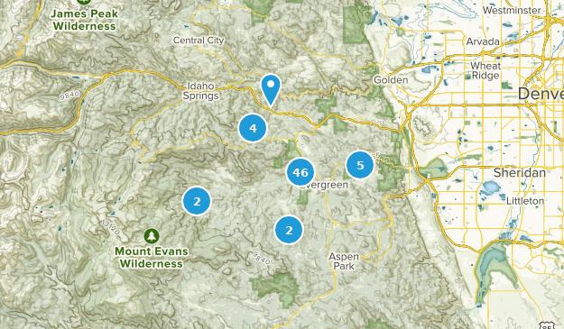 Evergreen, Colorado Hiking Map