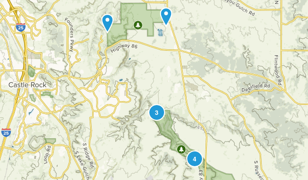 Franktown, Colorado Hiking Map