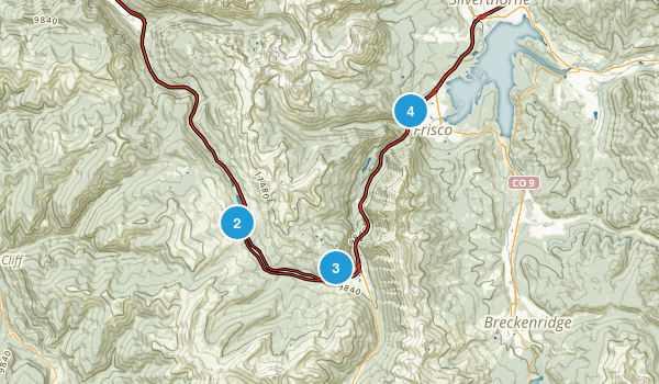 Frisco, Colorado Snowshoeing Map