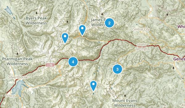 Idaho Springs, Colorado Cross Country Skiing Map