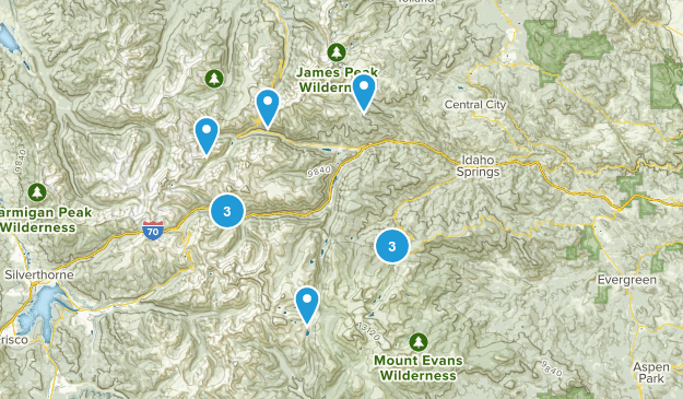 Idaho Springs, Colorado Cross Country Skiing Map