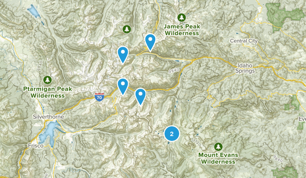Idaho Springs, Colorado Skiing Map