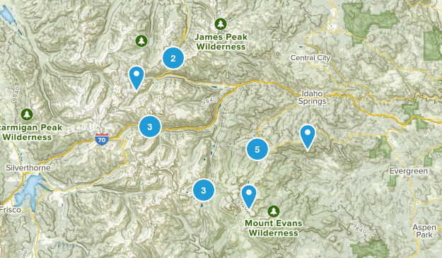 Idaho Springs, Colorado Snowshoeing Map