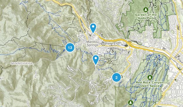 Manitou Springs, Colorado Hiking Map