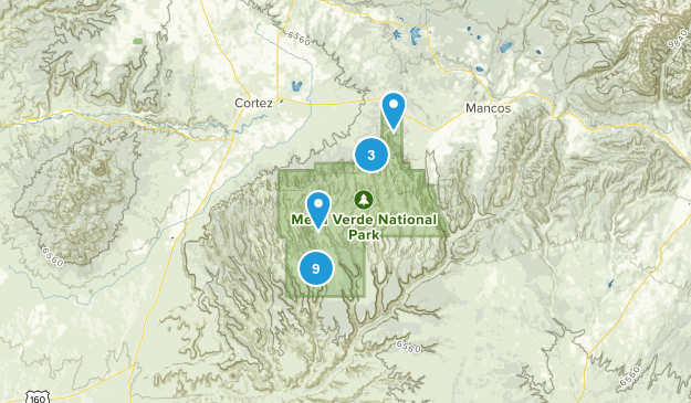 Mesa Verde National Park, Colorado Nature Trips Map