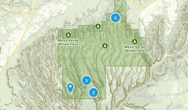 Mesa Verde National Park, Colorado Trail Running Map