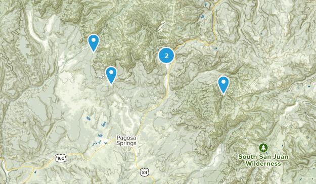 Pagosa Springs, Colorado Waterfall Map