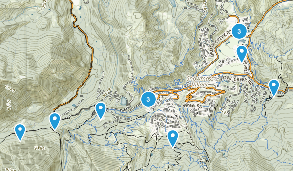 Snowmass Village, Colorado Hiking Map
