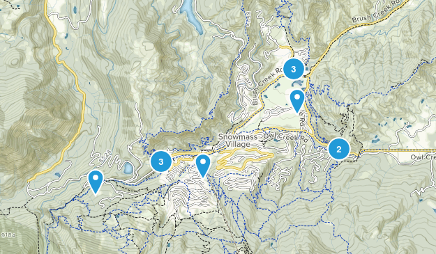 Snowmass Village, Colorado Trail Running Map