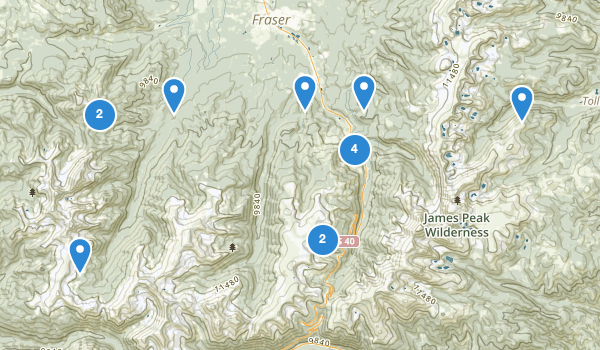 trail locations for Winter Park, Colorado