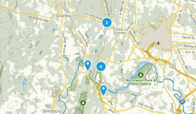 East Granby, Connecticut Hiking Map