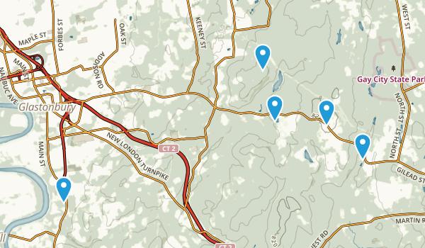 Glastonbury, Connecticut Dogs On Leash Map