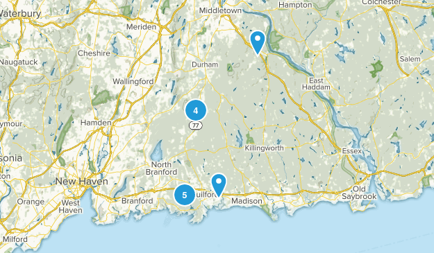 Guilford, Connecticut Dogs On Leash Map