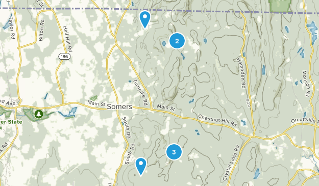 Somers, Connecticut Hiking Map