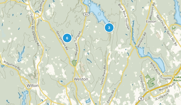 Weston, Connecticut Hiking Map
