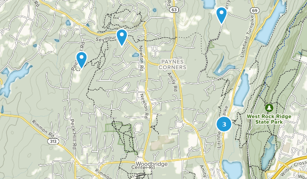 Woodbridge, Connecticut Hiking Map