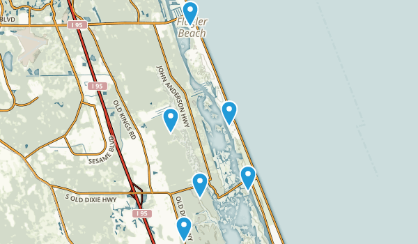 Flagler Beach, Florida Dogs On Leash Map