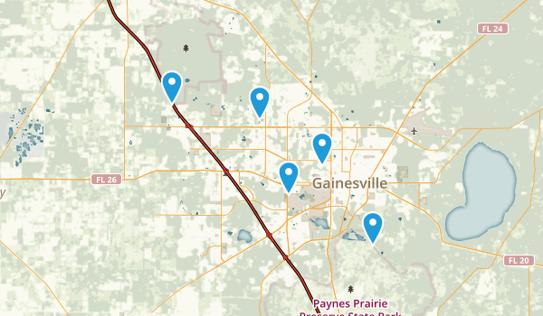 Gainesville, Florida Dogs On Leash Map