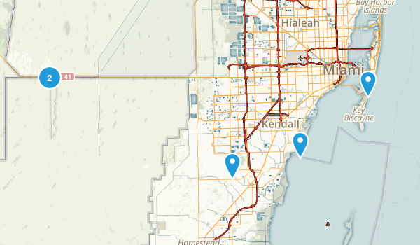 Miami, Florida Hiking Map