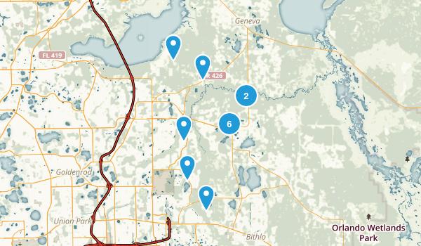 Oviedo, Florida Hiking Map