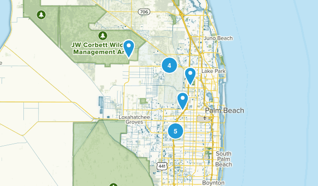 West Palm Beach, Florida Hiking Map