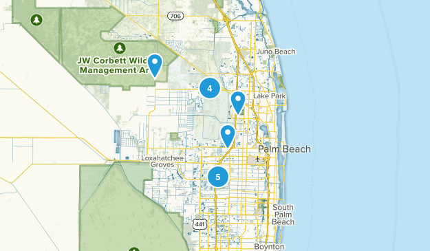 West Palm Beach, Florida Hiking Map