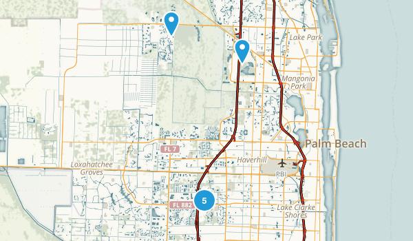 West Palm Beach, Florida Trail Running Map