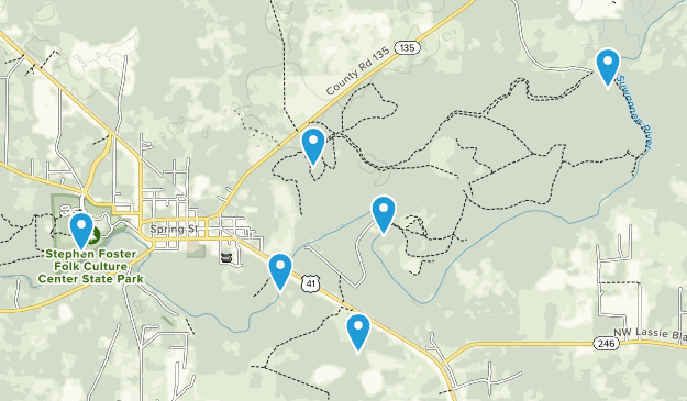 White Springs, Florida Dogs On Leash Map