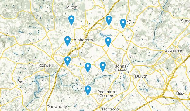 Alpharetta, Georgia Dogs On Leash Map