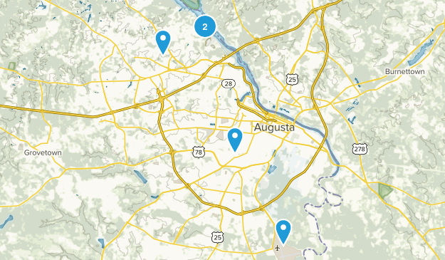 Augusta, Georgia Hiking Map
