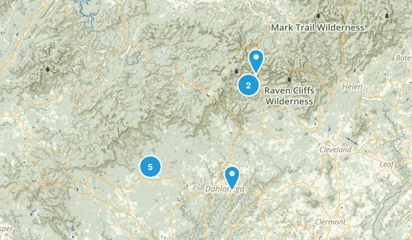 Dahlonega, Georgia Nature Trips Map