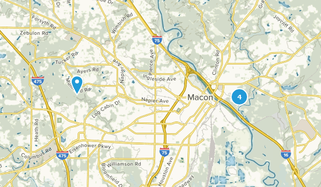 Macon, Georgia Hiking Map