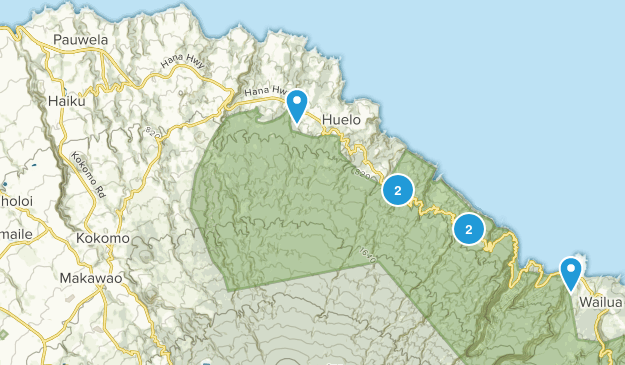 Haiku, Hawaii Hiking Map
