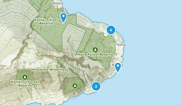 Hana, Hawaii Nature Trips Map