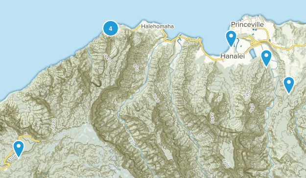 Hanalei, Hawaii Hiking Map