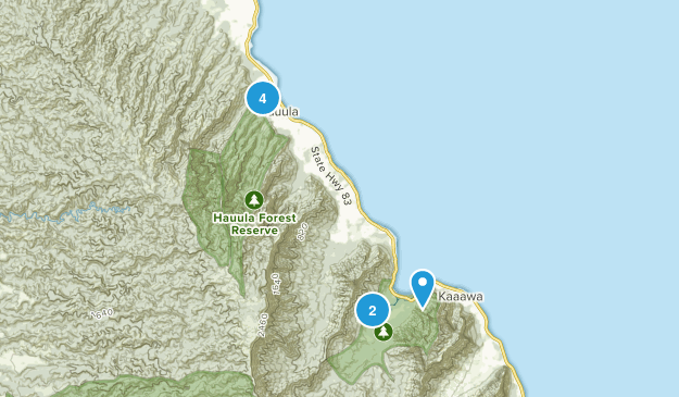 Hauula, Hawaii Forest Map