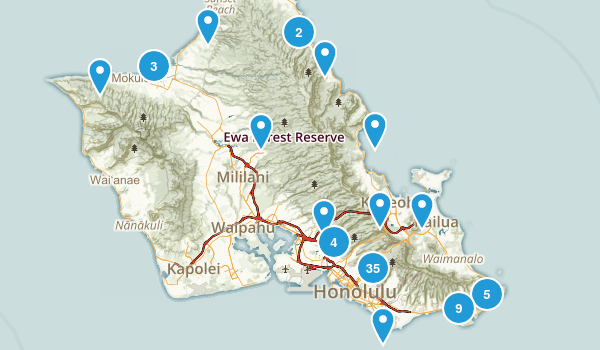 Honolulu, Hawaii Hiking Map
