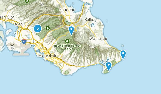 Honolulu, Hawaii Partially Paved Map