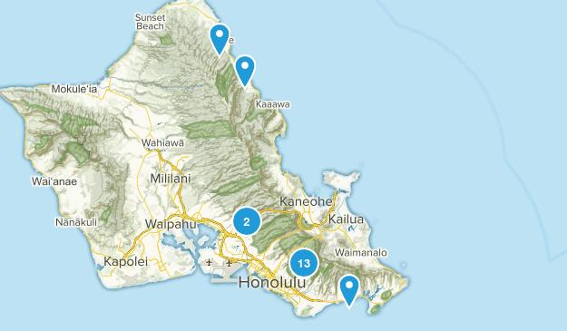 Honolulu, Hawaii Waterfall Map