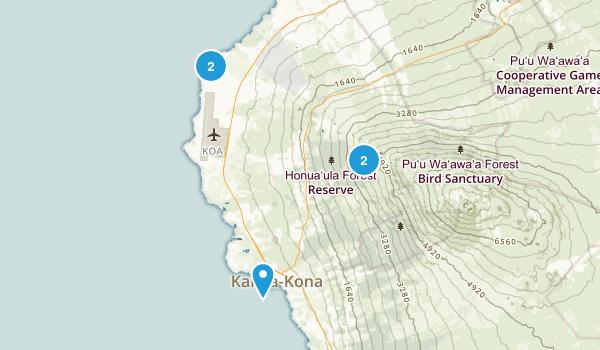 Kailua Kona, Hawaii Hiking Map