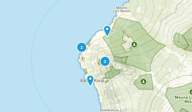 Kailua Kona, Hawaii Hiking Map