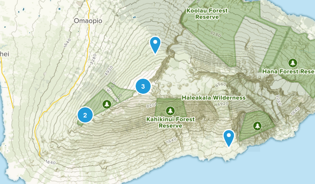Kula, Hawaii Camping Map