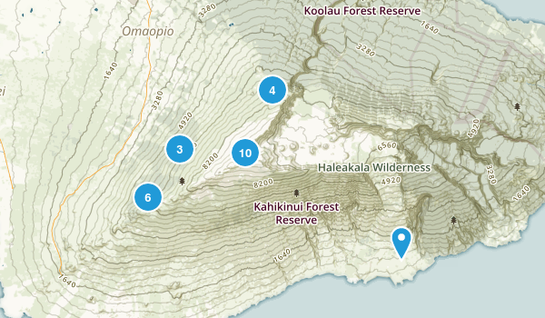 Kula, Hawaii Hiking Map